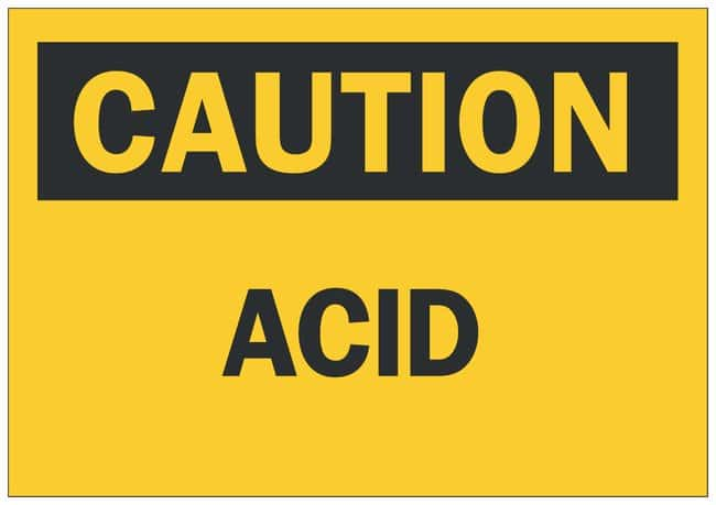 Brady Aluminum Caution Sign: ACID Black on yellow; Non-adhesive; Corner