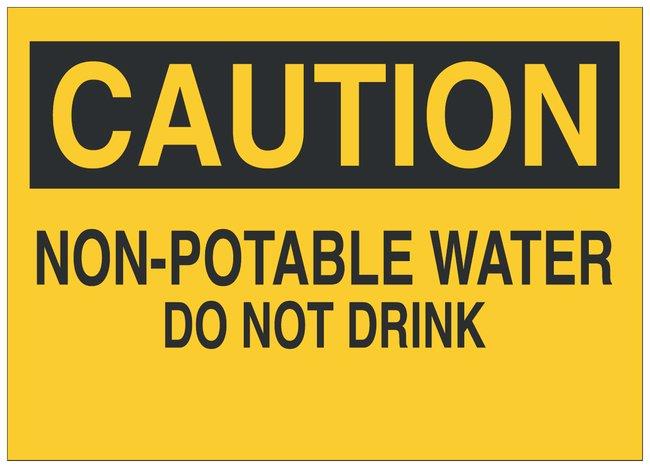 Brady Fiberglass Caution Sign: NON-POTABLE WATER DO NOT DRINK Black on