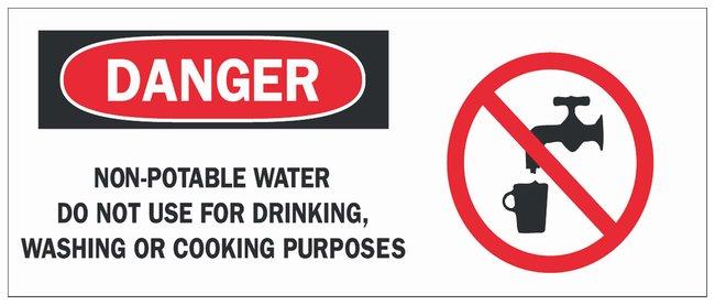 Brady Fiberglass Danger Sign: NON-POTABLE WATER DO NOT USE FOR DRINKING,
