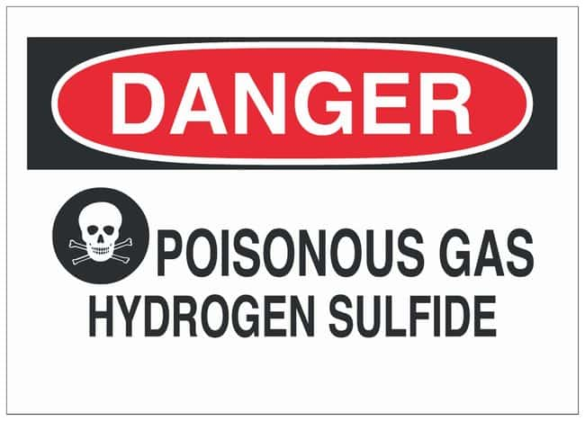 Brady Polyester Danger Sign: POISONOUS GAS HYDROGEN SULFIDE Black/red on
