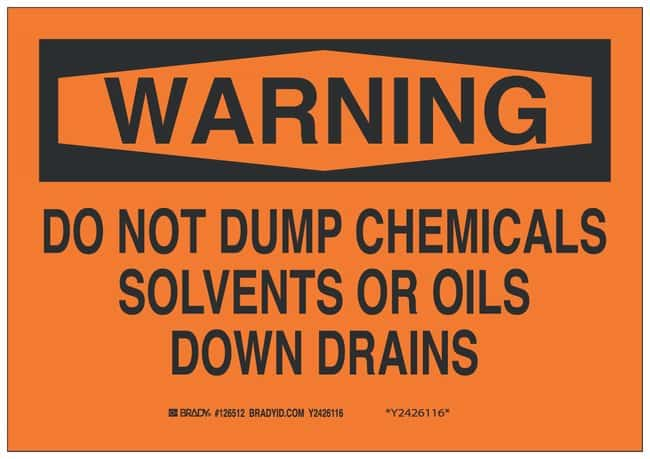 Brady Aluminum Warning Sign: DO NOT DUMP CHEMICALS SOLVENTS OR OILS DOWN