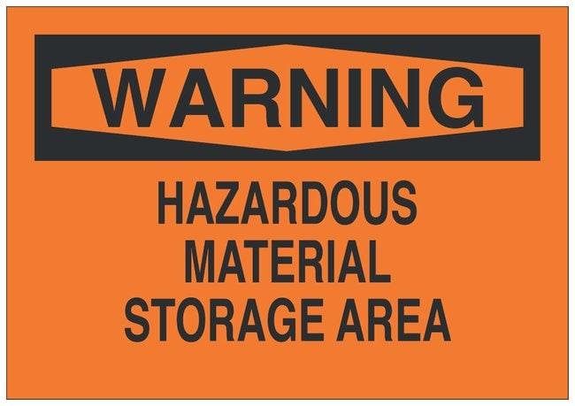 Brady Fiberglass Warning Sign: HAZARDOUS MATERIAL STORAGE AREA Black on