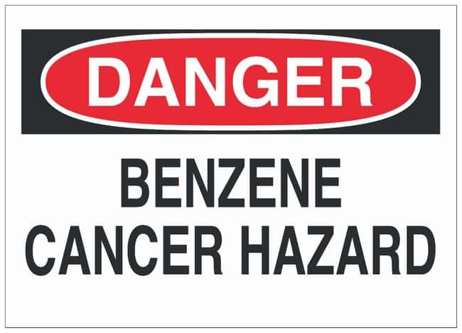 Brady Fiberglass Danger Sign: BENZENE CANCER HAZARD Black/red on white;