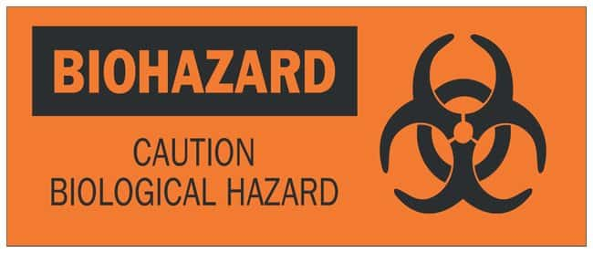 Brady Fiberglass Biohazard Sign: CAUTION BIOLOGICAL HAZARD Black on orange;