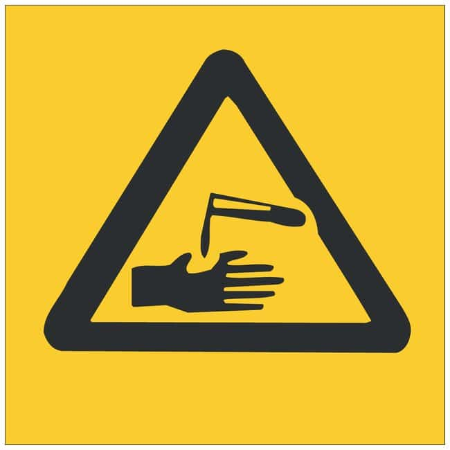 Brady Polyester Warning Sign: Corrosive (No Text) Black on yellow; Cold