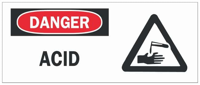 Brady Fiberglass Danger Sign: ACID Black/red on white; Non-adhesive; Corner