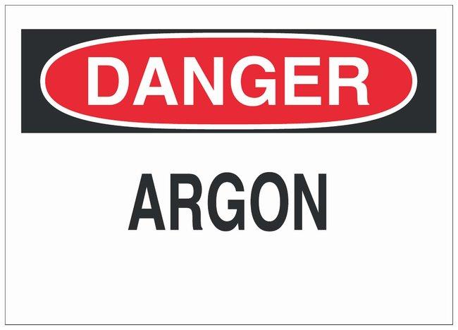 Brady Polystyrene Danger Sign: ARGON Black/red on white; Non-adhesive;