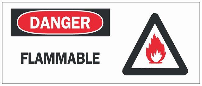 Brady Fiberglass Danger Sign: FLAMMABLE Black/red on white; Non-adhesive;
