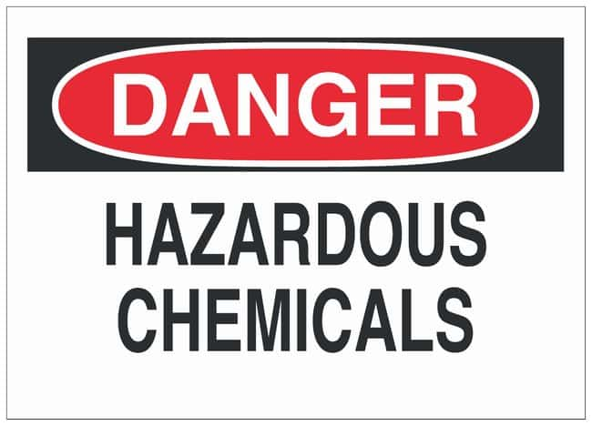 Brady Fiberglass Danger Sign: HAZARDOUS CHEMICALS, With Corner Holes Black/red