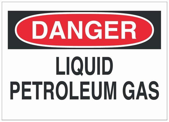 Brady Fiberglass Danger Sign: LIQUID PETROLEUM GAS Black/red on white;