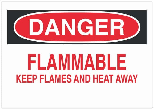 Brady Polyester Adhesive Danger Sign: FLAMMABLE KEEP FLAMES AND HEAT AWAY
