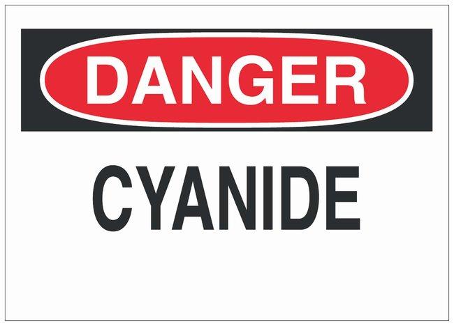 Brady Fiberglass Danger Sign: CYANIDE Black/red on white; Non-adhesive;