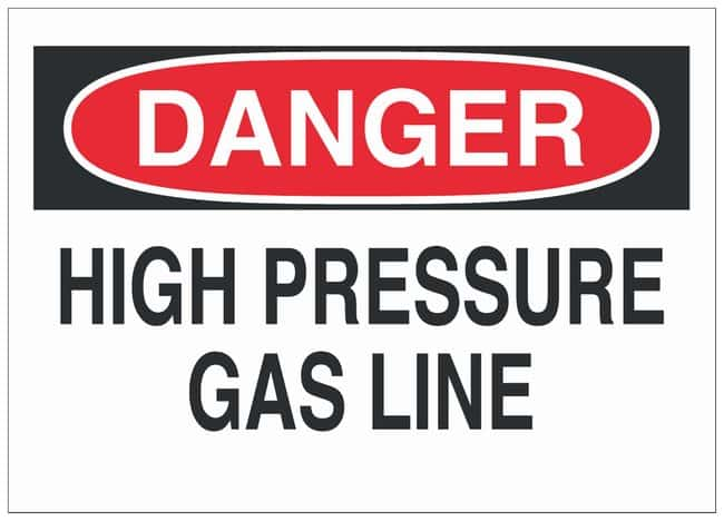 Brady Plastic Warning Sign: HIGH PRESSURE GAS LINE Black/red on white;