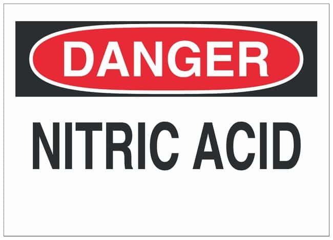Brady Polystyrene Danger Sign: NITRIC ACID:Gloves, Glasses and Safety:Facility