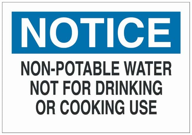 Brady Fiberglass Notice Sign: NON-POTABLE WATER NOT FOR DRINKING OR COOKING