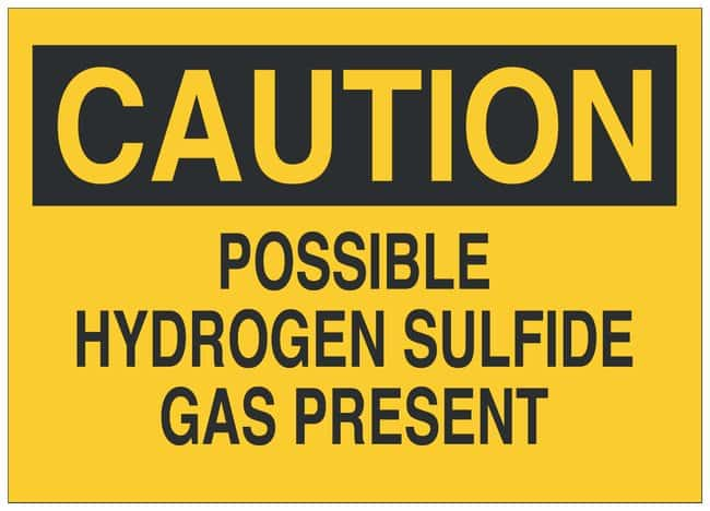 Brady Polyester Caution Sign: POSSIBLE HYDROGEN SULFIDE GAS PRESENT Black