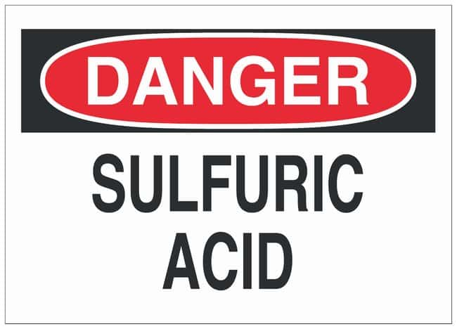 Brady Polyester Danger Sign: SULFURIC ACID Black/red on white; Cold temperature