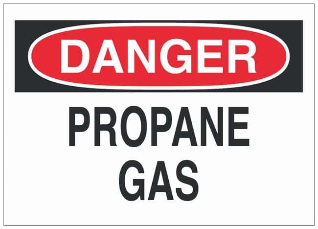 Brady Aluminum Danger Sign: PROPANE GAS Black/red on white; Non-adhesive;