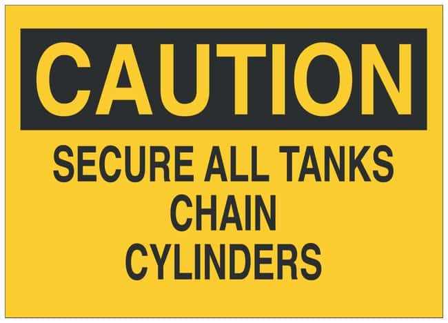 Brady Fiberglass Caution Sign: SECURE ALL TANKS CHAIN CYLINDERS Black on