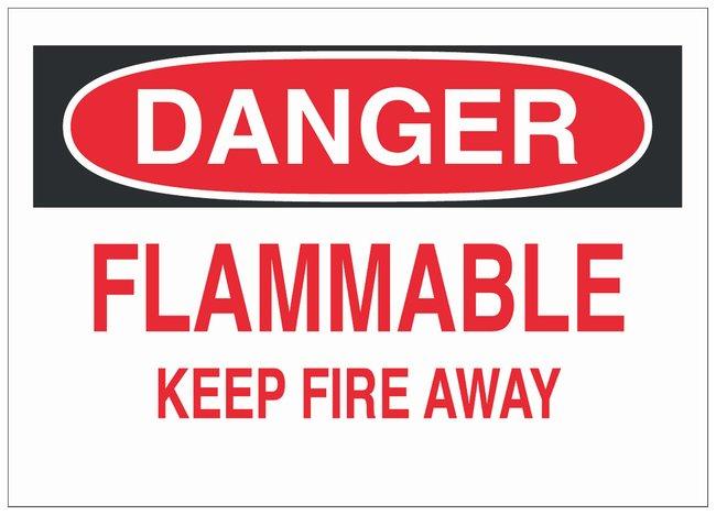 Brady Fiberglass Danger Sign: FLAMMABLE KEEP FIRE AWAY Black/red on white;