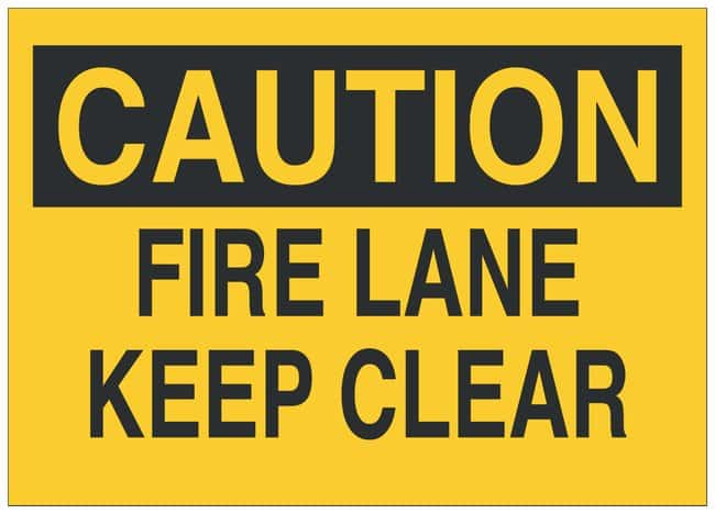 Brady Polyester Adhesive No Parking Sign: FIRE LANE KEEP CLEAR:Gloves,
