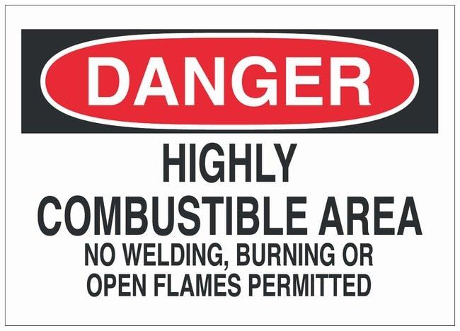 Brady Fiberglass Danger Sign: HIGH PRESSURE GAS LINE:Gloves, Glasses and