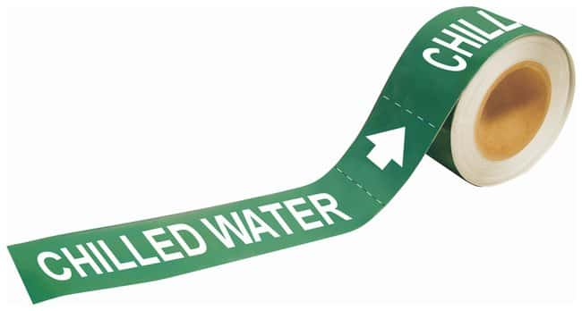 Brady Self-Sticking Pipe Marker Labels: CHILLED WATER Size: W x H: 30.4
