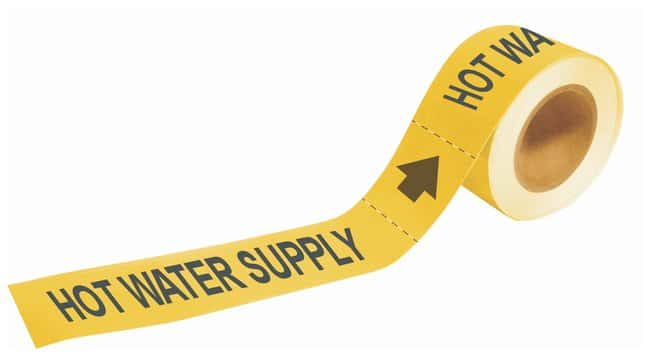 Brady Self-Sticking Pipe Marker Labels: HOT WATER SUPPLY:Gloves, Glasses