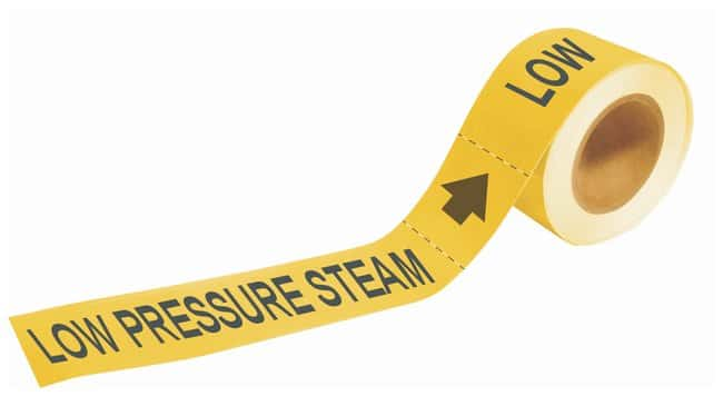 Brady Self-Sticking Pipe Marker Labels: LOW PRESSURE STEAM:Gloves, Glasses
