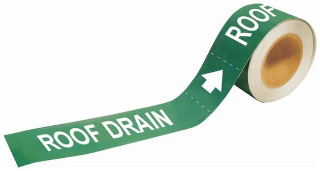 Brady Self-Sticking Pipe Marker Labels: ROOF DRAIN Size: W x H: 20.3 x