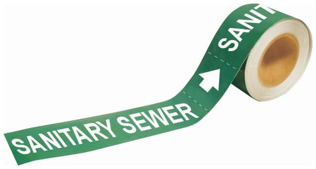 Brady Self-Sticking Pipe Marker Labels: SANITARY SEWER:Gloves, Glasses