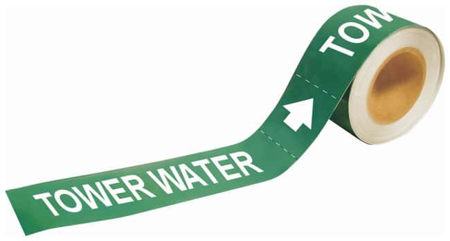 Brady Self-Sticking Pipe Marker Labels: TOWER WATER Color: White on Green;