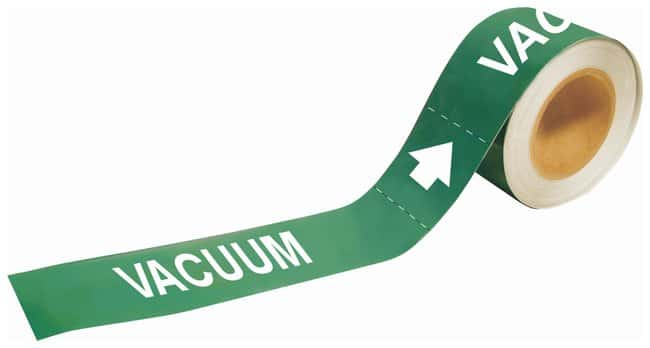 Brady Self-Sticking Pipe Marker Labels: VACUUM Color: Green; Size: W x