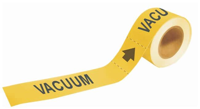 Brady Self-Sticking Pipe Marker Labels: VACUUM Color: Yellow; Size: W x