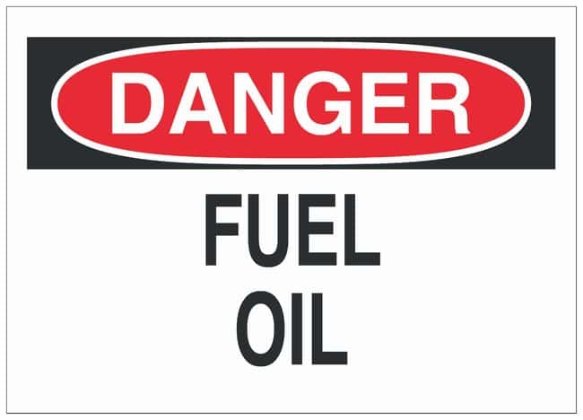 Brady Aluminum Danger Sign: FUEL OIL Black/red on white; Non-adhesive;