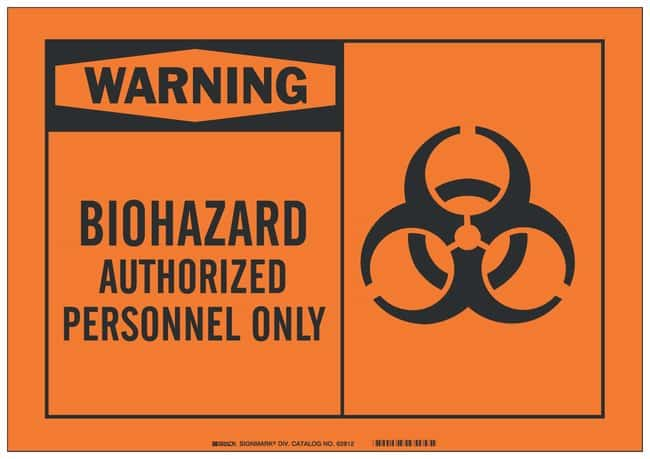 Brady Fiberglass Warning Sign: BIOHAZARD AUTHORIZED PERSONNEL ONLY Black