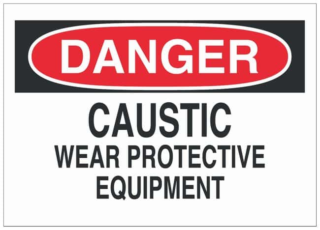 Brady Aluminum Danger Sign: CAUSTIC WEAR PROTECTIVE EQUIPMENT Black/red