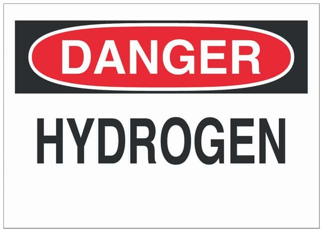 Brady Polyester Warning Sign: HYDROGEN Black/red on white; 10 in. x 7 in.