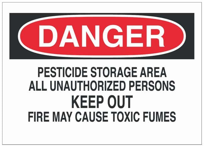 Brady Aluminum Warning Sign: PESTICIDE STORAGE AREA ALL UNAUTHORIZED PERSONS