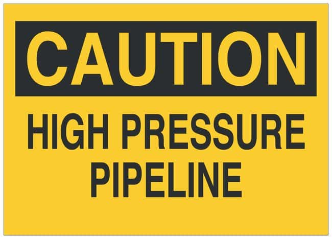 Brady Aluminum Warning Sign: HIGH PRESSURE PIPELINE Black on yellow; 14