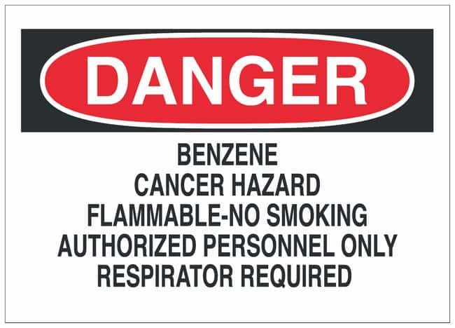 Brady Polyester Adhesive Warning Sign: BENZENE...RESPIRATOR REQUIRED Black/red