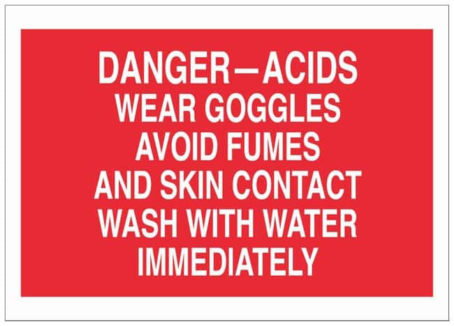 Brady Polyester Danger Sign: WEAR GOGGLES AVOID FUMES AND SKIN CONTACT
