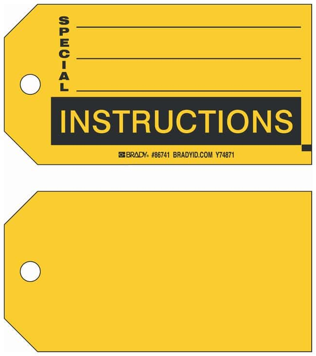 Brady Paper Cardstock Tag Special Instructions