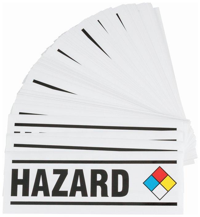 Brady Warning Sign: HAZARD Black/blue/red/yellow on white:Gloves, Glasses
