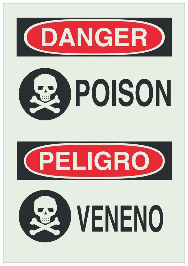Brady Photoluminescent Polyester Danger/ Peligro Sign: POISON/ VENENO Black/red