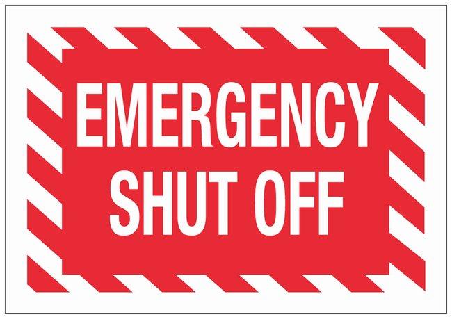Brady Aluminum Fire Emergency & Disaster Sign: EMERGENCY SHUT OFF:Gloves,