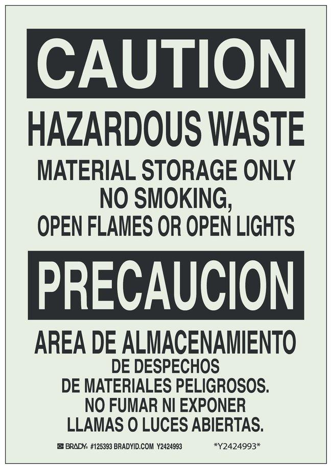 Brady Polyester BradyGlo Warning Sign: HAZARDOUS WASTE MATERIAL STORAGE