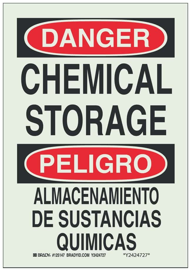 Brady Phosphorescent Danger Sign: CHEMICAL STORAGE/ ALMACENAMIENTO DE SUSTANCIAS