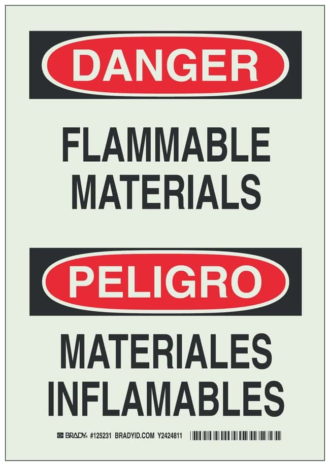 Brady BradyGlo Warning Sign: FLAMMABLE MATERIALS/MATERIALES INFLAMABLES