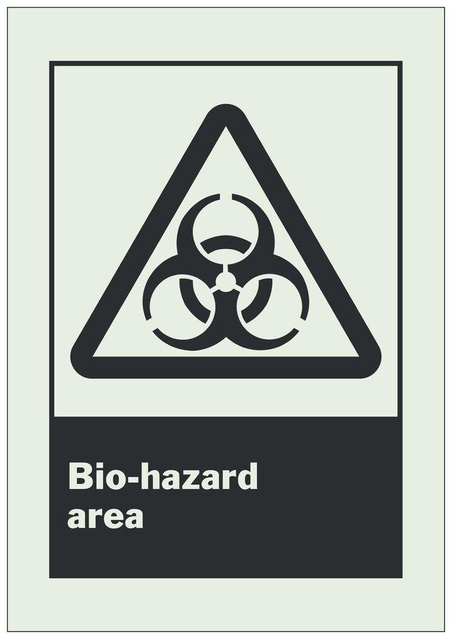 Brady Phosphorescent Polyester Polystyrene Danger Sign: BIO-HAZARD AREA